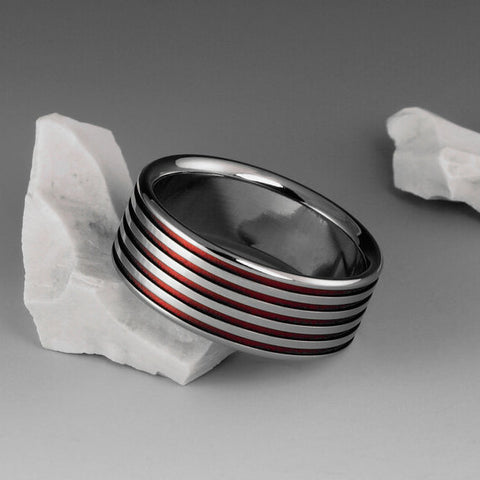 Titanium Ring - Flat Profile With Red Pinstripes