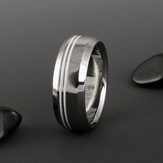 Titanium Ring - Two Off Center Pinstripes - Beveled Edges