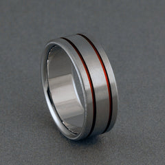 Titanium Ring - Two Red Pinstripes on Either Side