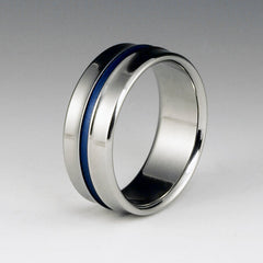 Titanium Ring - Gradually Raised Center - Blue Pinstripe