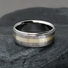"Beautiful hand ground ""Wood Grain Sequoia"" finished titanium ring in a flat profile, with one wide solid 18k gold centered pinstripe"