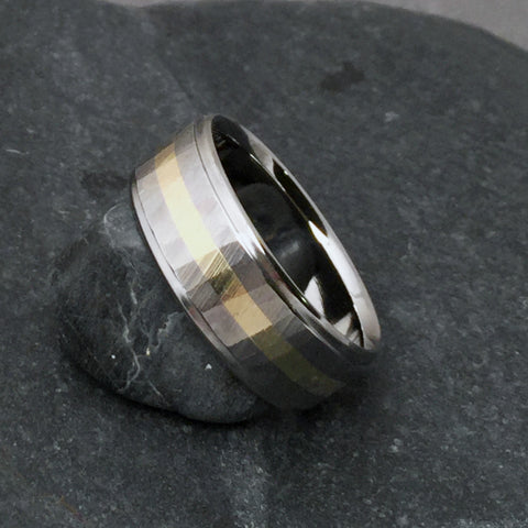 "Titanium & Wide 18k Solid Gold Ring ""Sequoia"" Wood Grain Finish"