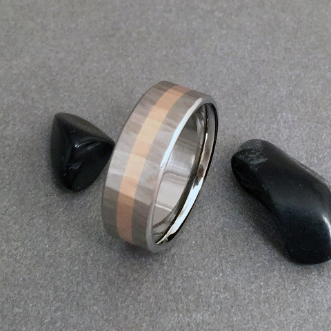 "18K Solid Wide Rose Gold & Titanium Band ""Sequoia"" Finish"