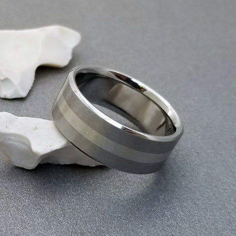 18K Solid White Gold & Titanium Band