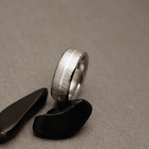 "Titanium Ring - ""Wood Grain"" Hand Ground Finish - One Centered Sterling Silver Pinstripe"