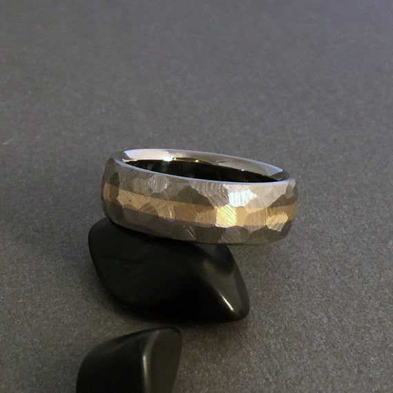 "Beautiful hand ground ""Mosaic"" finished titanium ring in a domed profile, with one wide solid 18k gold centered pinstripe."