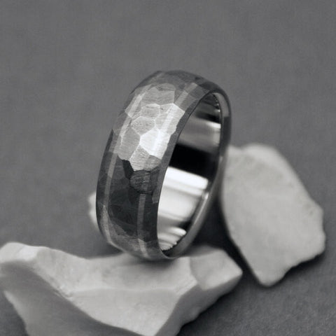 """Mosaic"" finish hand ground titanium ring with two sterling silver pinstripes"