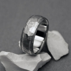 "Classic Titanium Handcrafted ""Mosaic"" finish, hand ground titanium ring with two sterling silver pinstripes"