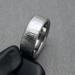"Titanium Ring - ""Black Oak Tree"" original wood grain finish"