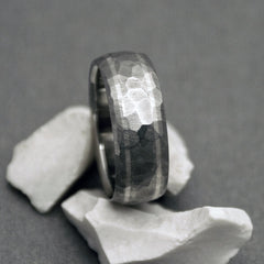 Unique silver titanium ring, with our exclusive Mosaic finish. Handcrafted by Classic Titanium.
