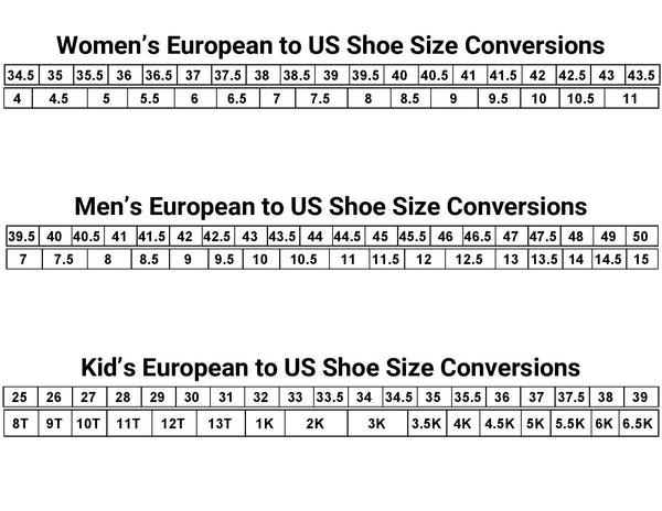 European to US Shoe Size Chart