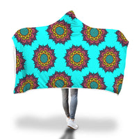 Cyan Mandala Hooded Blanket-Hooded Blankz