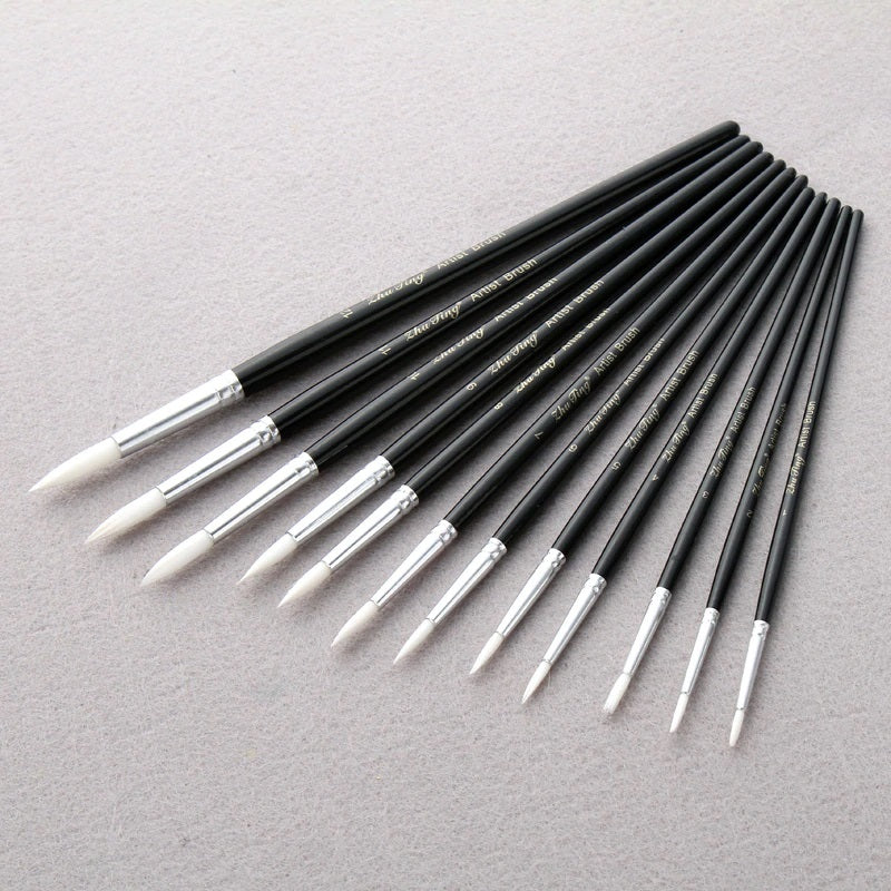 12Pcs/Lot Black pen-holder White Nylon Hair paint brush