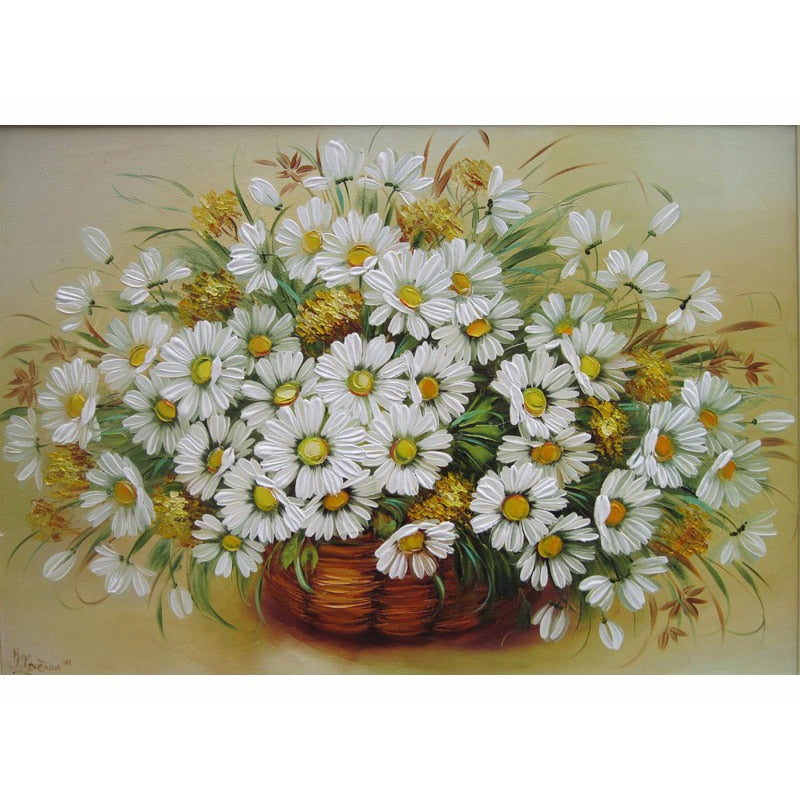 White Sunflower Painting