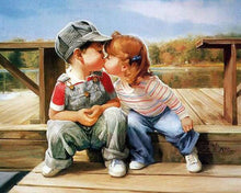 Load image into Gallery viewer, Kissing Kids DIY Painting