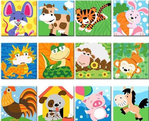 Kids Paint by number Kits - Animals