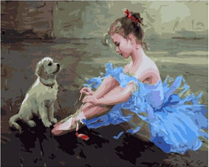 Puppy with young Ballerina