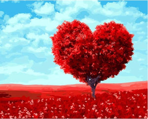 Frameless Red Heart Trees