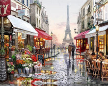Load image into Gallery viewer, Frameless Paris Flower Street Landscape DIY Painting By Numbers