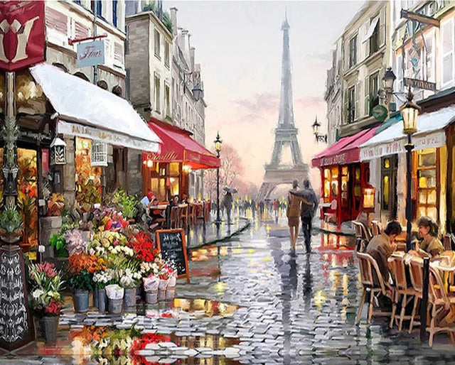 Frameless Paris Flower Street Landscape DIY Painting By Numbers