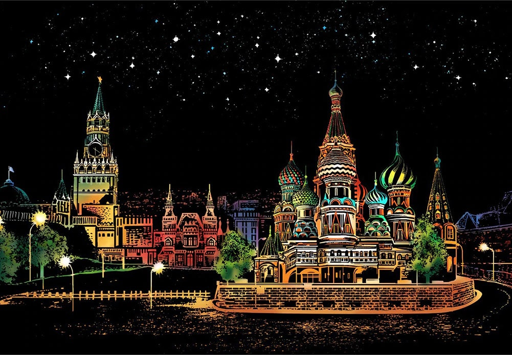 Scratch Art - Red Square, Moscow