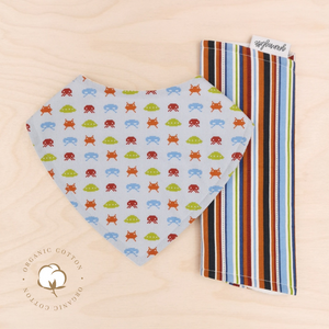 Organic Space Invaders Dribble Bib & Kids Stripe Burp Cloth