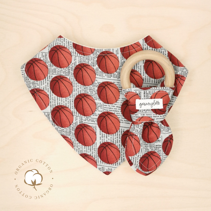 Organic Basketball Dribble Bib & Basketball Teething Ring