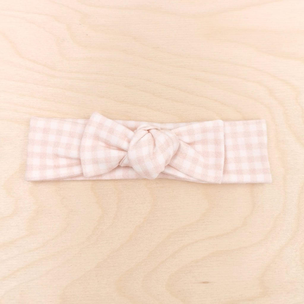 Blush Gingham Bow-Band