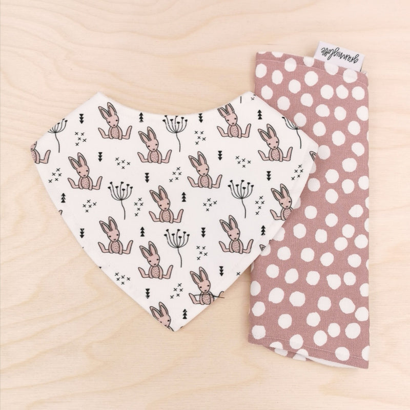 Blushing Bunnies Dribble Bib & Bloom Polka Dot Burp Cloth