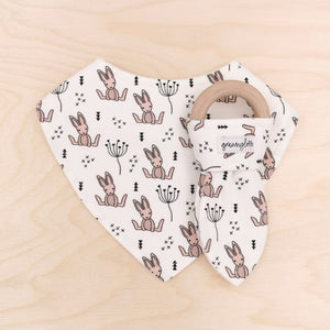 Blushing Bunnies Dribble Bib & Blushing Bunnies Teething Ring