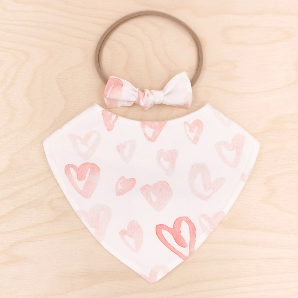 Blushing Hearts Dribble Bib & Blushing Hearts Little-Bow