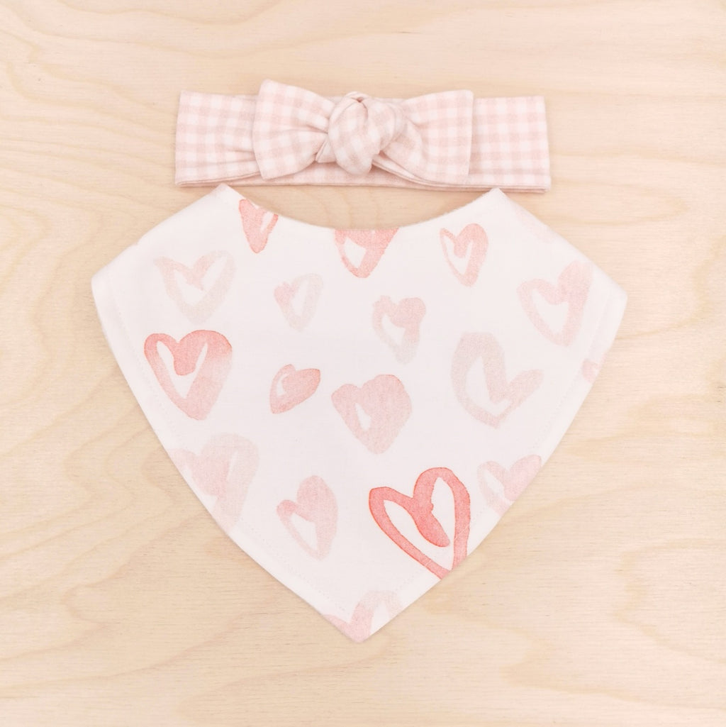 Blushing Hearts Dribble Bib & Blush Gingham Bow-Band