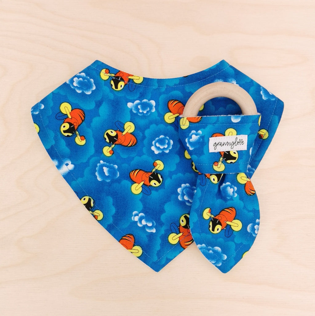 Buzzy Bee Clouds Dribble Bib & Buzzy Bee Clouds Teething Ring