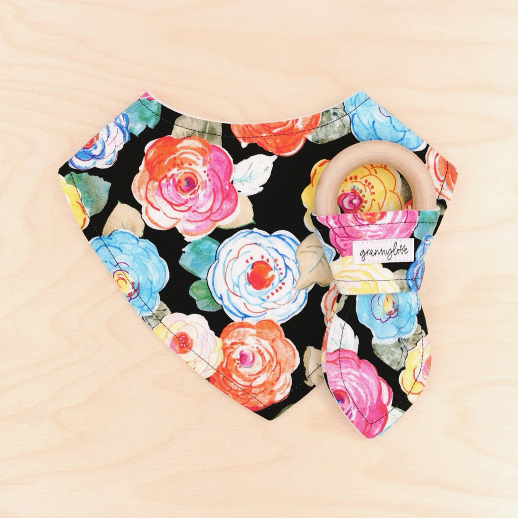Floral Delight Dribble Bib & Floral Delight Teething Ring