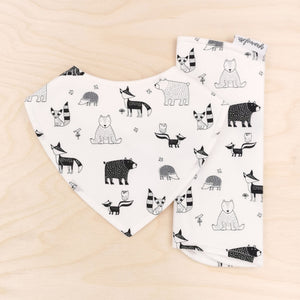 Forest Friends B&W Dribble Bib & Forest Friends B&W Burp Cloth