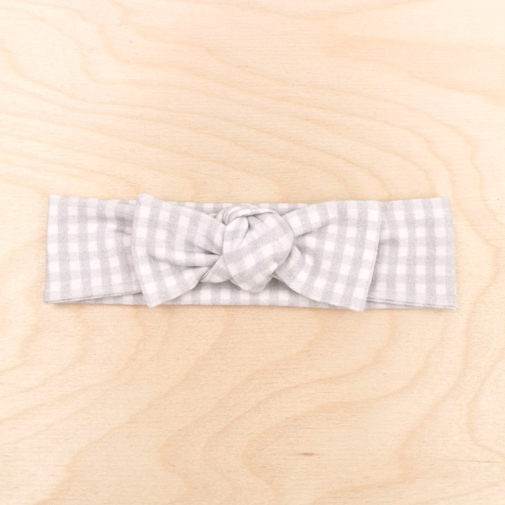 Grey Gingham Bow-Band