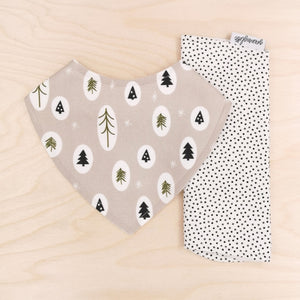 Little Trees Dribble Bib & Black/Olive Pin Spot Burp Cloth
