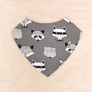 Tribal Animals Grey Dribble Bib