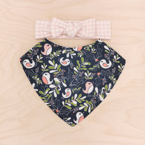 Mistletoe Merriment Dribble Bib & Blush Gingham Bow-Band