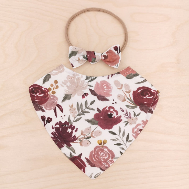 Moody Floral Dribble Bib & Moody Floral Little-Bow