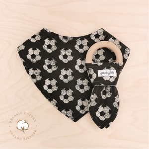Organic Football Dribble Bib & Football Teething Ring