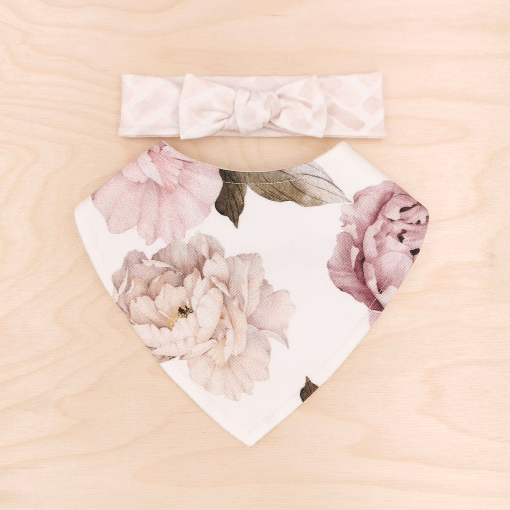 Peony Dribble Bib & Barely Blush Bow-Band