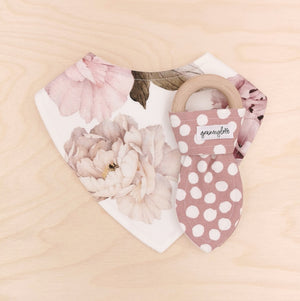Peony Dribble Bib & Bloom Polka Dot Teething Ring