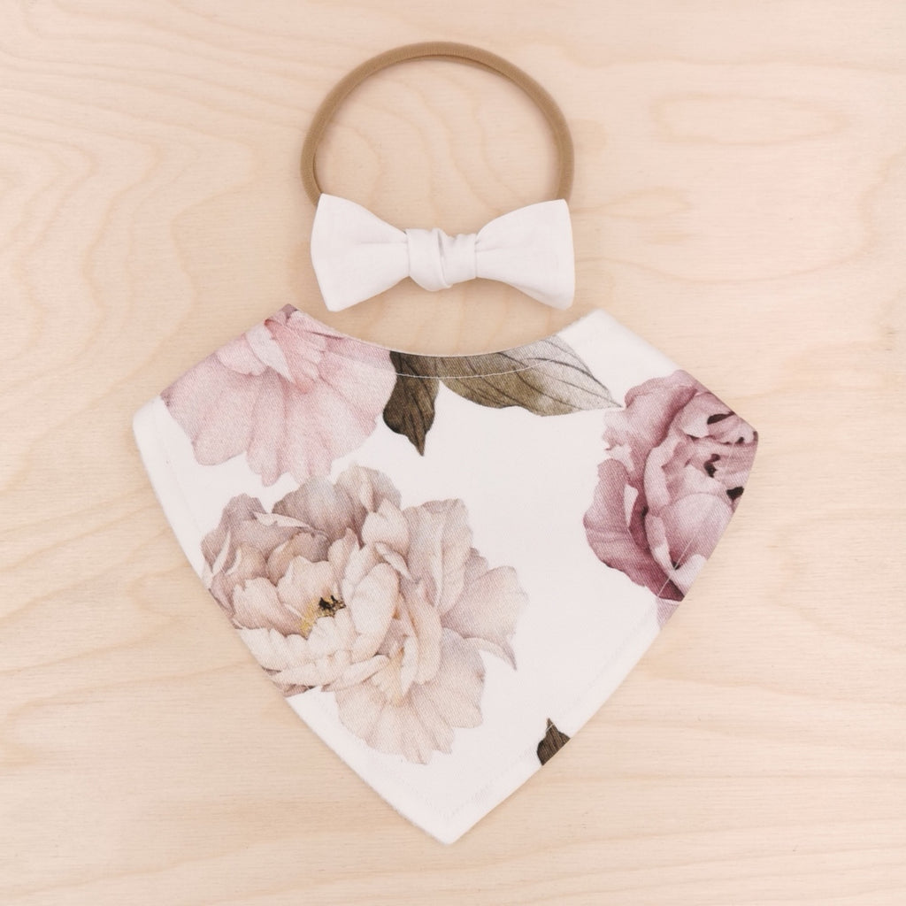 Peony Dribble Bib & White Little-Bow