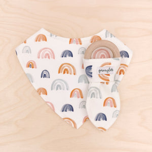 Rainbows Galore Dribble Bib & Rainbows Galore Teething Ring
