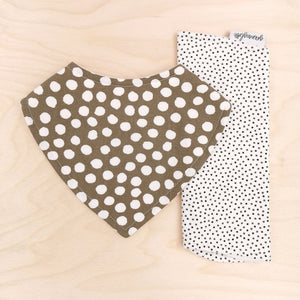 Sage Polka Dot Dribble Bib & Black/Olive Pin Spot Burp Cloth