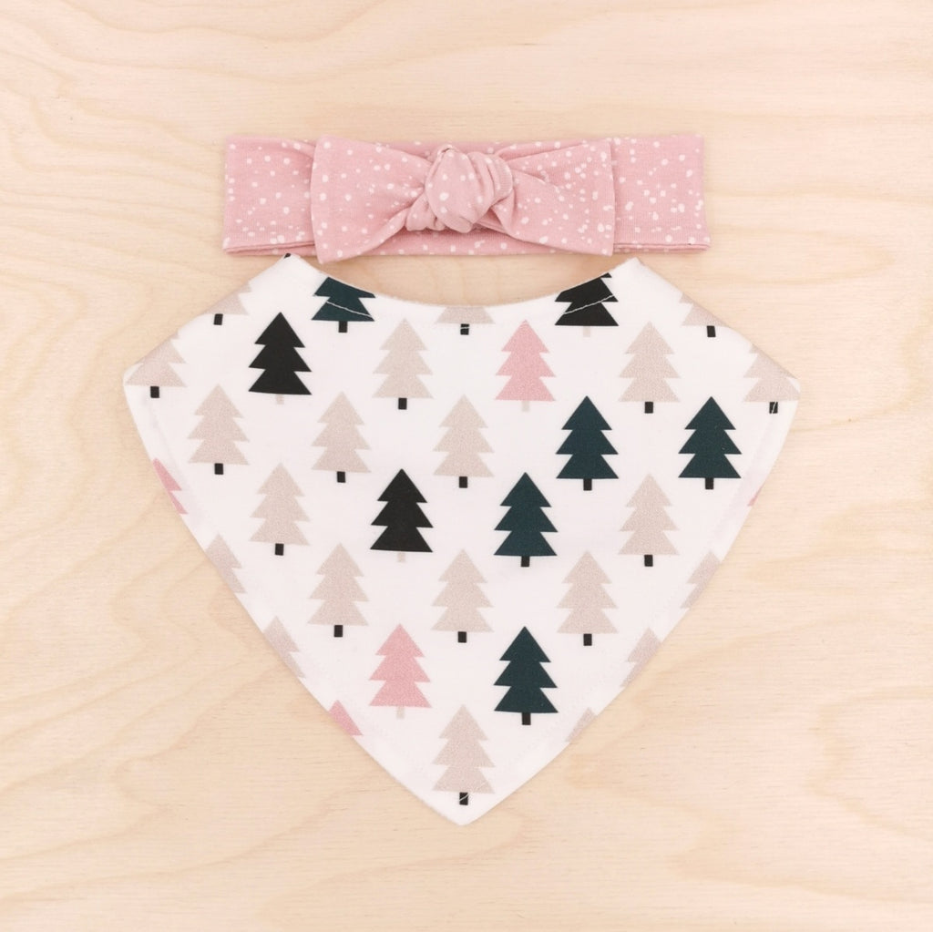 Scandi Trees Dribble Bib & Pink Sprinkle Bow-Band