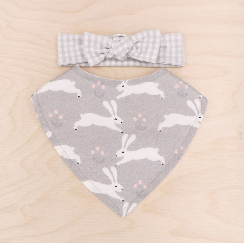 White Bunnies Dribble Bib & Grey Gingham Bow-Band
