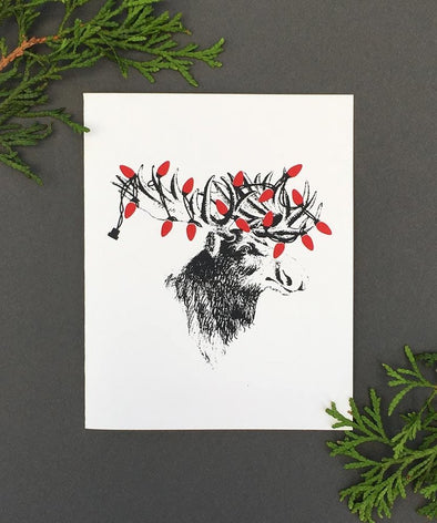 Glow-in-the-Dark Moose Holiday Boxed Cards