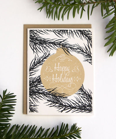Happy Holidays Gold Ornament Card